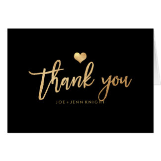PixDezines Faux Gold Heart/Thank You Card