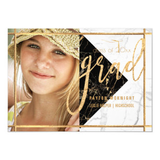 PixDezines Faux Gold/Marble Graduation Card