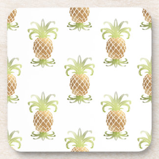 PixDezines Faux Gold Pineapples/DIY background Coaster