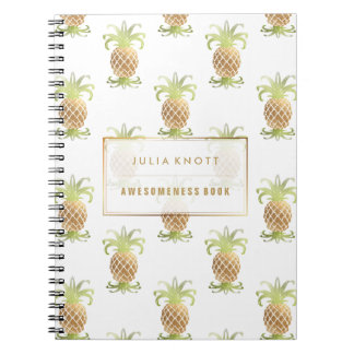 PixDezines Faux Gold Pineapples/DIY background Spiral Notebook