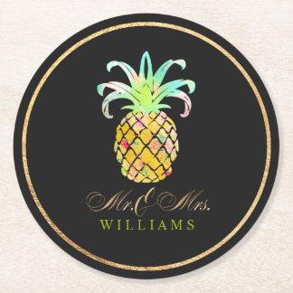 PixDezines Faux Gold/Pineapples Round Paper Coaster