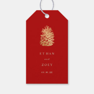 PixDezines faux gold pinecone/thankyou/DIY color Gift Tags