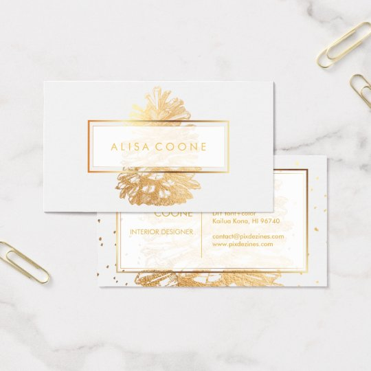 PixDezines  FAUX GOLD PINECONES/DIY background Business Card