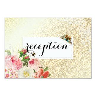 PixDezines faux gold/vintage roses reception 9 Cm X 13 Cm Invitation Card
