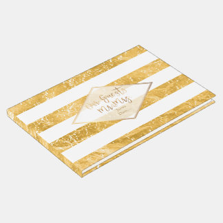 PixDezines FAUX GOLD+WHITE STRIPES Guest Book