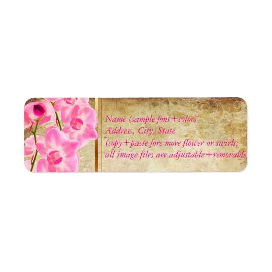 PixDezines faux parchment/pink kona orchid Return Address Label