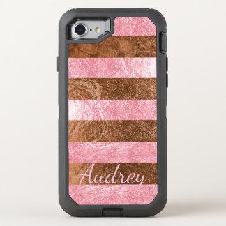 PixDezines Faux Raspberry Pink+Copper Foil OtterBox Defender iPhone 8/7 Case