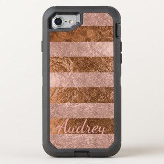 PixDezines Faux Rose Gold+Copper Foil OtterBox Defender iPhone 8/7 Case