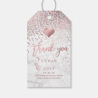 PixDezines Faux Rose Gold Heart/Marble Gift Tags
