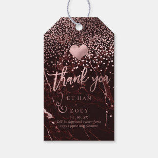 PixDezines Faux Rose Gold Heart/Masala Red Marble Gift Tags