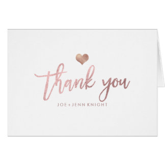 PixDezines Faux Rose Gold Heart/Thank You Card