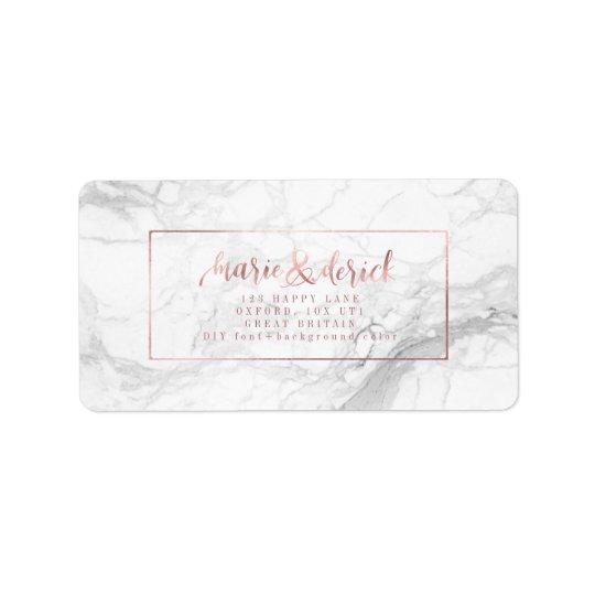 PixDezines Faux Rose Gold+Marble+DIY Background Address Label