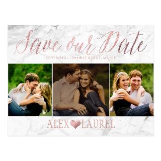 PixDezines FAUX ROSE GOLD/MARBLE/SAVE DATE Postcard