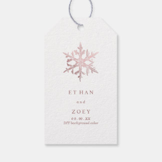 PixDezines Faux Rose Gold Snowflakes/ThankYou Gift Tags