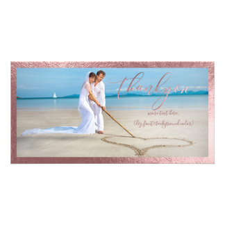 PixDezines faux rose gold/thank you wedding photo Card