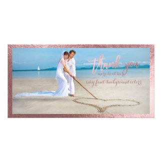 PixDezines faux rose gold/thank you wedding photo Customised Photo Card