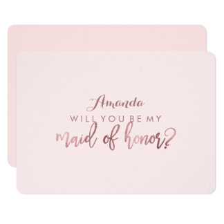 PixDezines Faux Rose Gold Will You Be .. Maid Card