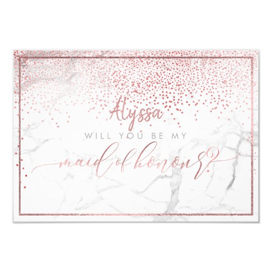 PixDezines Faux Rose Gold Will You Be Maid of Card