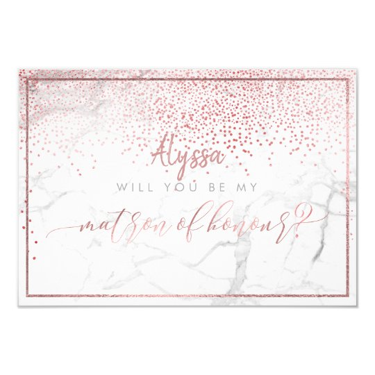 PixDezines Faux Rose Gold Will You Be Matron Card