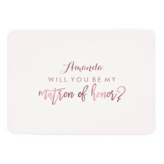 PixDezines Faux Rose Gold Will You Be..Matron Card