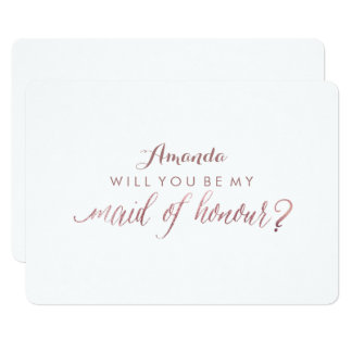 PixDezines Faux Rose Gold Will You Be My Maid.. Card