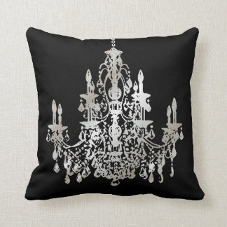 PixDezines faux silver/chandeliers/DIY background Cushion