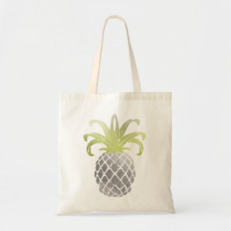PixDezines Faux Silver Gold Pineapple Tote Bag