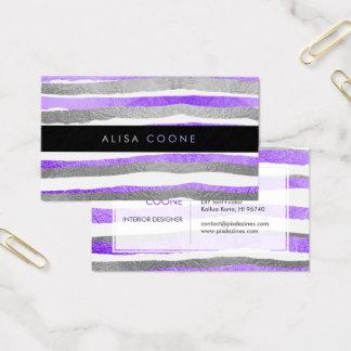 PixDezines faux silver+purple foil stripes Business Card