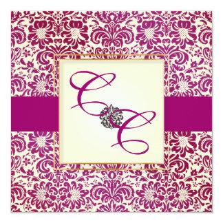 PixDezines Fidora Burgundy Vintage Damask 13 Cm X 13 Cm Square Invitation Card
