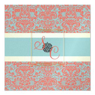 "PixDezines Fidora Seafoam+Coral Vintage Damask 5.25"" Square Invitation Card"