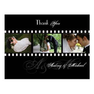 PixDezines Film Stripes Wedding Photos Thank You Postcard