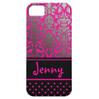 PixDezines Flora Damask/Pink+Black/DIY color Case For The iPhone 5