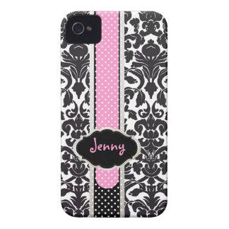 PixDezines Flora Damask/Pink+Black/DIY color iPhone 4 Case