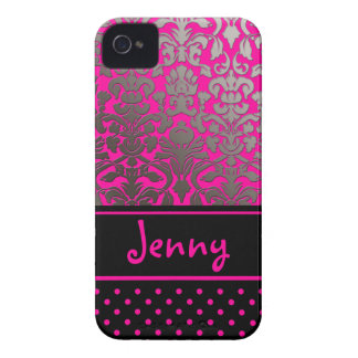 PixDezines Flora Damask/Pink+Black/DIY color iPhone 4 Covers