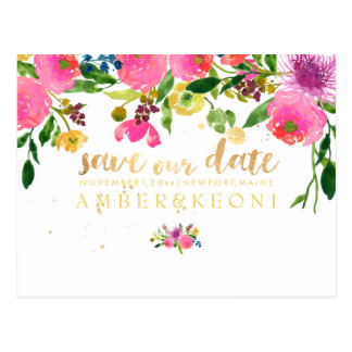PixDezines floral/save the date/photo Postcard