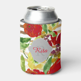 PixDezines Floral Watercolor/DIY background Can Cooler