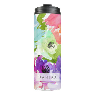 PixDezines Floral Watercolor/DIY background Thermal Tumbler