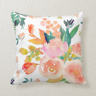 PixDezines Floral Watercolor/Peonies Cushion
