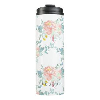 PixDezines Floral/Watercolor/Peonies/Peach+Mint Thermal Tumbler