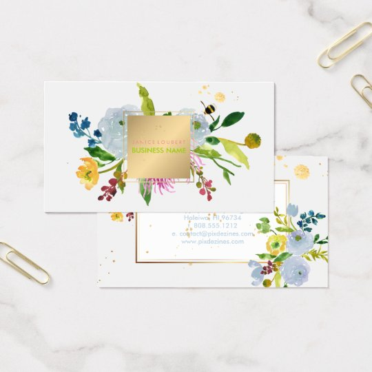 PixDezines floral watercolor/ranunculus/stripes Business Card