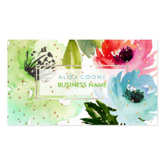 PixDezines Floral Watercolor/Roses/Gold Specks Pack Of Standard Business Cards