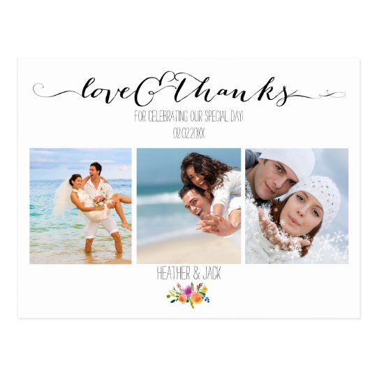 PixDezines Floral Wedding Thank You Postcard