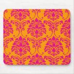 PixDezines Florentius Damask/orange+hot pink Mouse Mats