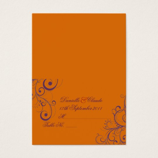 PixDezines Flourish Swirls tent place cards/Orange Business Card