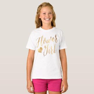 PixDezines Flower Girl/Faux Gold Modern Script T-Shirt