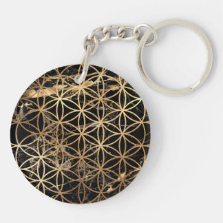 PixDezines Flower of Life / Faux Gold+Marble Key Ring