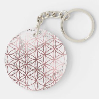 PixDezines Flower of Life / Faux Rose Gold+Marble Key Ring
