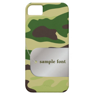 PixDezines Forest Green Camo+Dog+Tag Barely There iPhone 5 Case