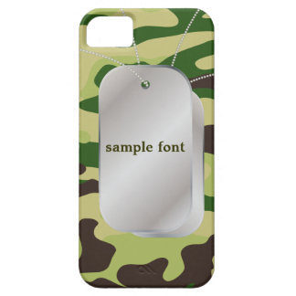 PixDezines Forest Green Camo+Dog+Tags Case For The iPhone 5
