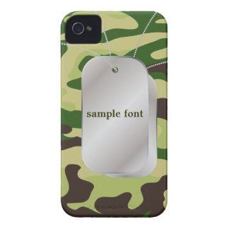 PixDezines Forest Green Camo+Dog+Tags Case-Mate iPhone 4 Case